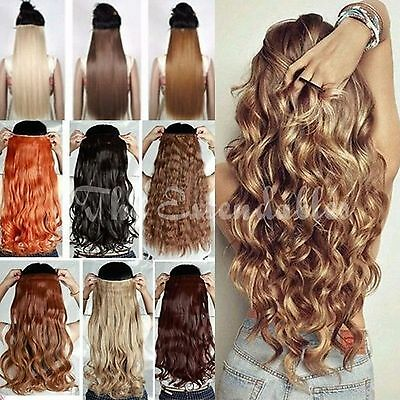 "UK seller 24"" Full head extensions Clip-in Hair One-Piece straight wavy curly"