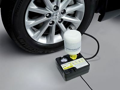 Kit topsides of the tire with compact air pump leaking tire repair
