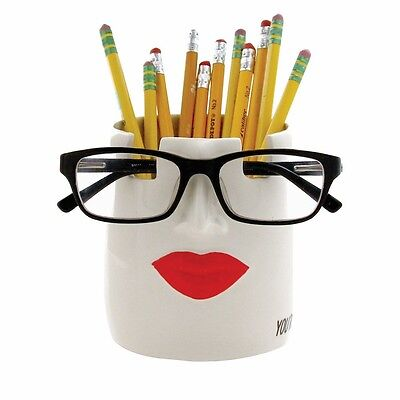 Spec-Tacular Catch-All Glasses Stand Pencil Holder Desk Organizer - Women's Lips