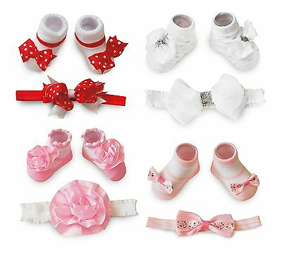Cute Baby Girls 2 Piece Set Socks with Matching Headband Bows or Flower Designs