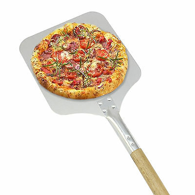 "Pizza Peel Oven Shovel Bakers Paddle Wooden Handle Aluminium 9"" Spade Tool"