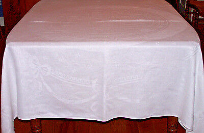 "68"" SQUARE VINTAGE IRISH DAMASK LINEN TABLECLOTH, RIBBON & BOW DESIGN, c1920"