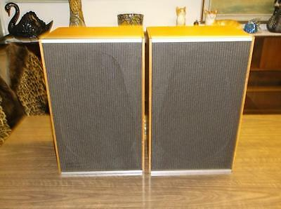 Pair Retro Teak Speakers Amazing Sound 70's Vintage