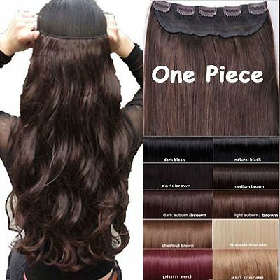 UK SELLER SYNTHETIC clip-in hair extensions 1pc look real 40 colours free post