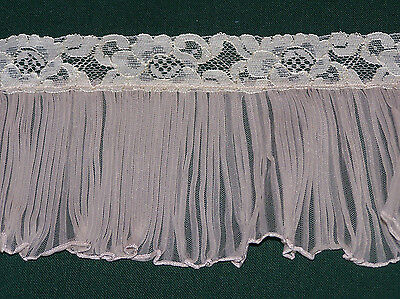 "FABULOUS VINTAGE BEIGE  PLEATED TRIM, ALENCON LACE EDGE, 3 YARDS 5"" WIDE, c1960"