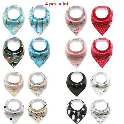 4Pcs Infant Baby Boy&Girl Bibs Feeding Saliva Towel Dribble Triangle Bandana
