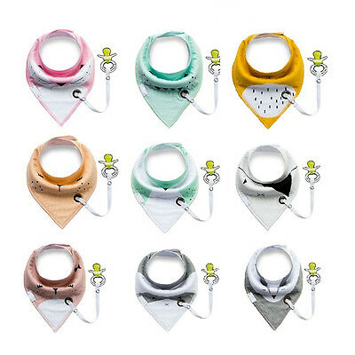 Infant Baby Toddler Triangular Cotton Bibs Saliva Towel & Pacifier Clip Feeding
