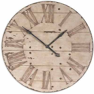 Large Wall Clock Rustic Vintage Shabby Wood Wooden Aged Chic Distressed Barn NEW
