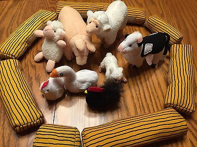 Plush Farm Animals Set Pig Cow Cheep Chickens Lot Set Hay Stuffed Animals