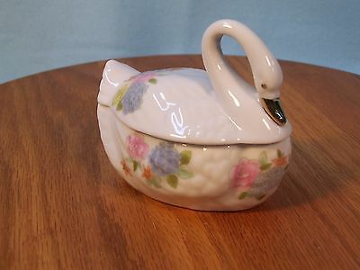 Swan Lidded Container Japan Small Vintage White with Pink  Blue Yellow Flowers