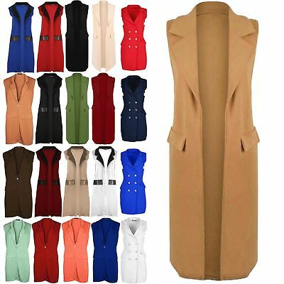 Women Ladies Collar Sleeveless Blazer Crepe Celeb Inspired Waistcoat Jacket Coat