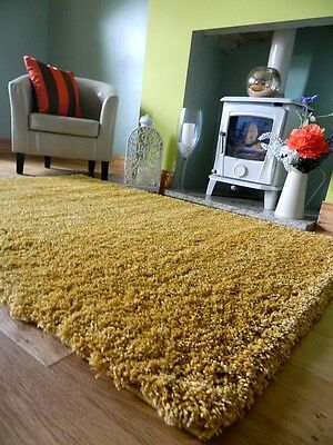 Medium X Large Mustard Ochre Yellow Thick Heavy Soft Quality Shaggy Pile Rug Mat