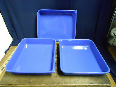 Set of Three Vintage Enameled Photo Developing Trays Blue Photography Studio