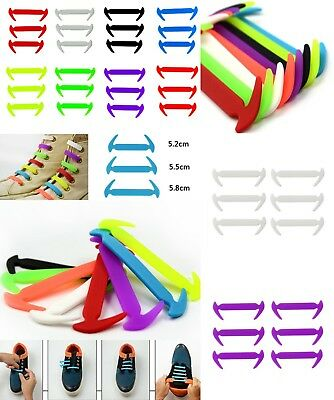 No Tie Lazy Shoe Laces Colored Silicone Elastic Easy Shoelaces Bootlaces 12 pcs