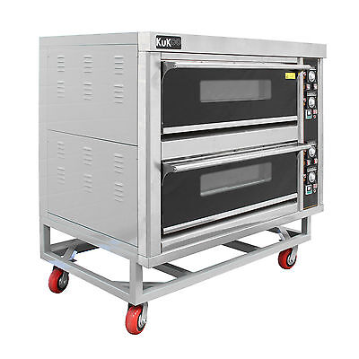 "Commercial Pizza Baking Oven Large Twin Deck Three Phase Electric 12x10"" 6.6kW"