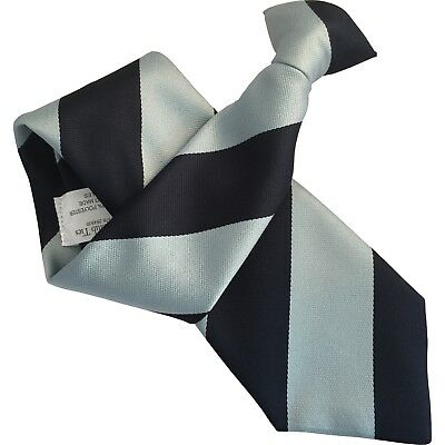 Mens Clip On Tie Clipper with Navy Blue and Light Blue Extra Broad Stripes