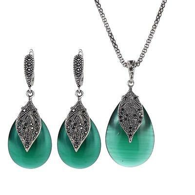 Antique Style Silver Black Crystal & Green Pendant Necklace & Earring Set #JS76