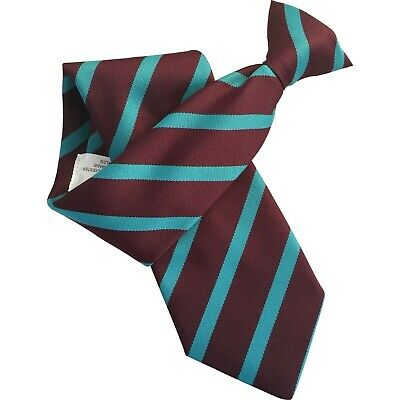 Claret Burgundy Mens Clip On Tie Clipper with Broad Sky Blue Stripes
