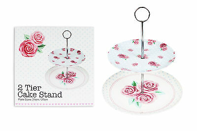 2 Tier Afternoon Tea Party Cake Stand Rose Desgin Wedding Plates 20 & 26.5Cm
