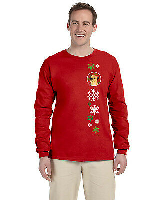 Border Terrier Red Snowflakes  Long Sleeve Red Unisex Tshirt Adult Small