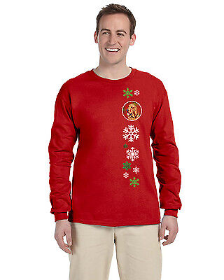 Bloodhound Red Snowflakes  Long Sleeve Red Unisex Tshirt Adult Large