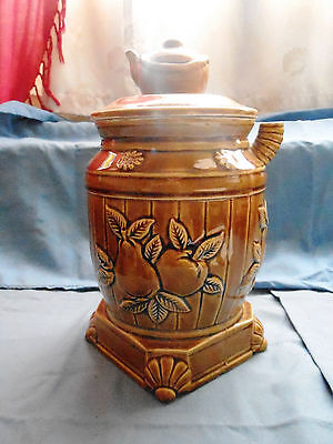 1970 Japan Vintage Brown Tea Pot Shaped Finial Cookie Jar with Fruit Pear Apple