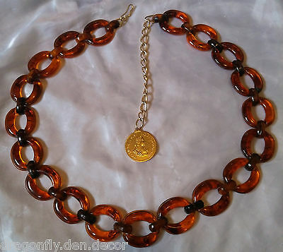 Vtg Ladies Amber Tortiseshell Celluloid Chain Belt Austrian Aluminum Coin Dangle