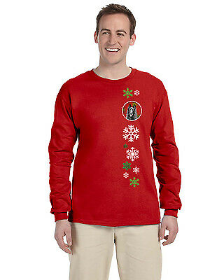 Belgian Sheepdog Red Snowflakes  Long Sleeve Red Unisex Tshirt Adult Small