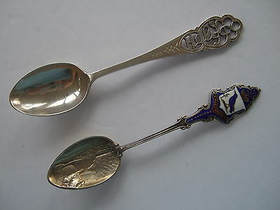 Pair vtg sterling silver enamel souvenir collector spoons -  HALIFAX NS