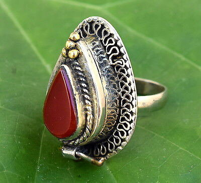 Red Carnelian Pill Box Poison Ring Afghan Kuchi Tribal Gypsy Boho Ethnic Jewelry