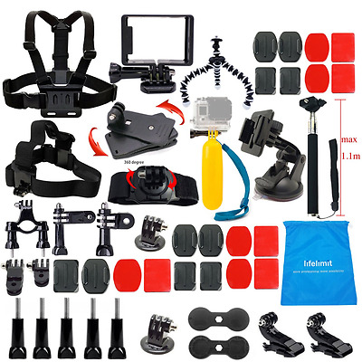 Lifelimit Accessories Starter Kit for Gopro Hero 5/Session/4/3/2/HD Original Bla