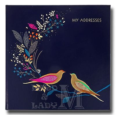 Sara Miller Square Address And Birthday Book - Gold Foil Birds - Perfect Gift