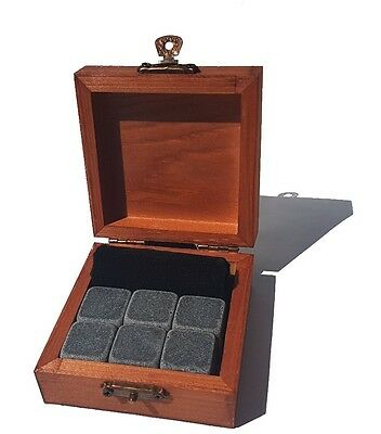 6pcs Whiskey Stones Granite Ice Rocks Wooden Gift Box Whisky Gin Vodka Home Bar