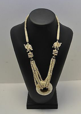 Gorgeous Vintage Heavy Hand Curved Elephants Figurines Necklace
