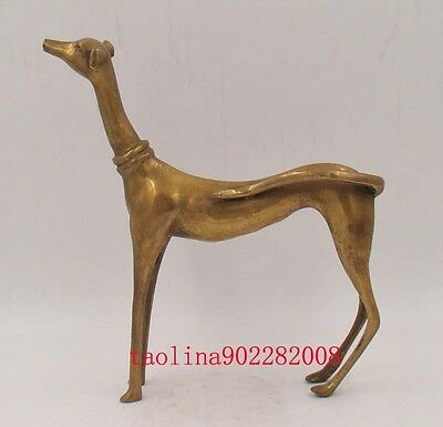Antique Collectible Handmade Brass Statue Dog Deco Art