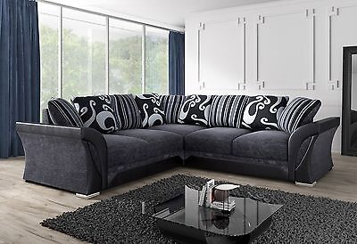 New Large Farrow Shannon Sofa Corner 5 Seater Grey Black Fabric & Leather Couch