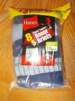 Boys Size Large (14-16) Hanes Brand Tagless 8-Pack Boxer Brief Underwear