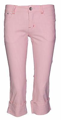 New Womens Denim Stretch Cropped Trouser Ladies Pants Jeans Pink 3/4 Length 6-14