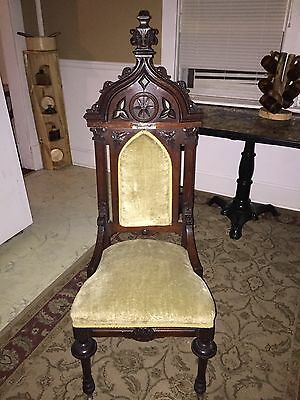 Antique gothic style high back victorian reverend chair 1800's