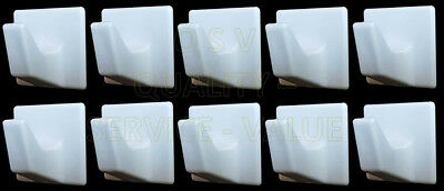 Self Adhesive Hooks White Plastic Strong Sticky Stick on Wall Door 2,5 or 10.