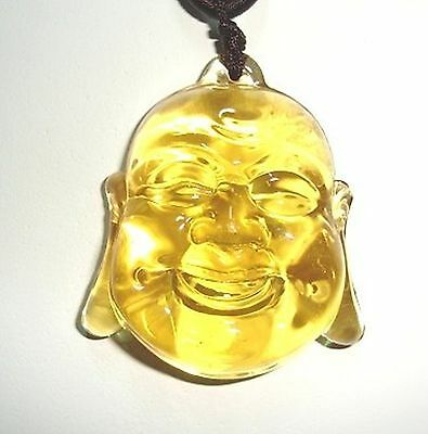 HUGE 50x44x16mm GORGEOUS CHINESE LIULI GLASS BUDDHA HEAD NECKLACE