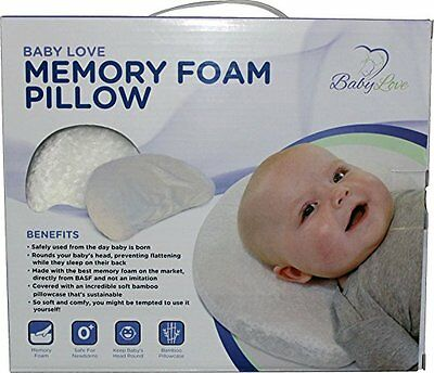 Baby Head Shaping Memory Foam Pillow & Bamboo Pillowcase, Prevents Plagiocephaly