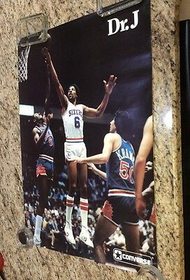 "Rare 1970's  Dr J Converse Poster 16 1/2 X 23""  ""Near Mint Condition"""