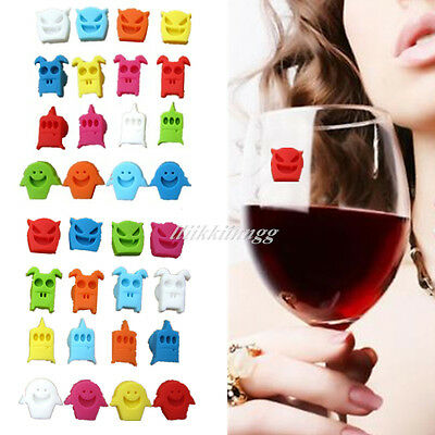 8 PCS Cute Cup Wine Glass Drink Silicone Label Tag Markers Bottle Charms Suction