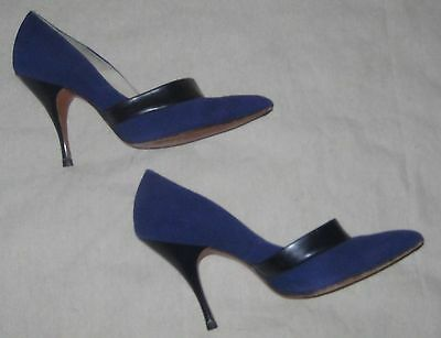 VTG 50s STILETTO HEELS shoes BLUE & black SUEDE LEATHER rockabilly PINUP  6?