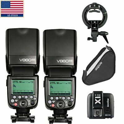 US 2X Godox V860II-N i-TTL Wireless 2.4G Flash Speedlite X1T-N Trigger F Nikon