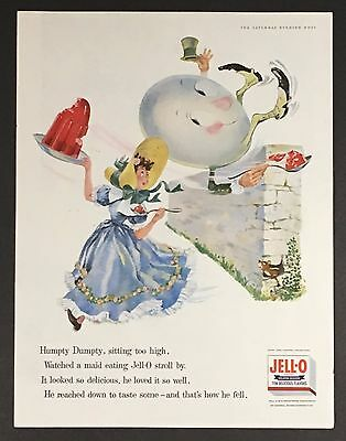 1956 Jell-O Original Advertisement Humpty Dumpty Color Nursery Rhyme Poem AD