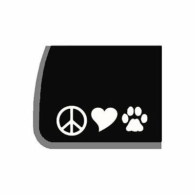 White Peace Love Paw Vinyl Decal sticker for Car, laptop, for cat or dog lover