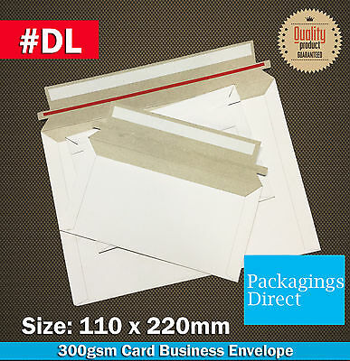 1000x Card Mailer #DL 220x110mm 300GSM Envelope - DL Size Tough Bag Replacement