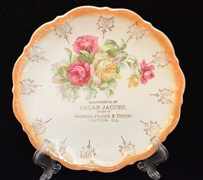 Souvenir Plate from Oscar Jacobs Grocer, Chatton, Illinois - Roses, Imperial